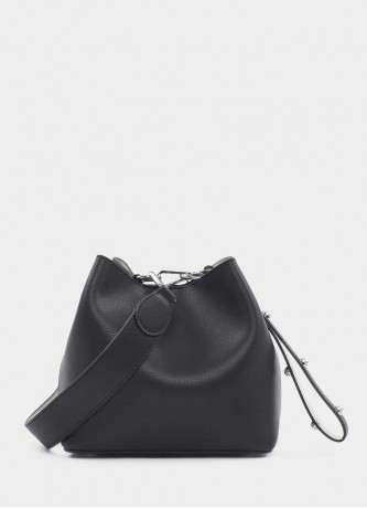 Leather bucket bag black