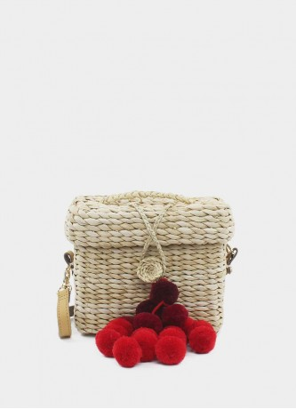 Mini crossbody with red pompoms