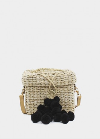 Mini crossbody with black pompoms