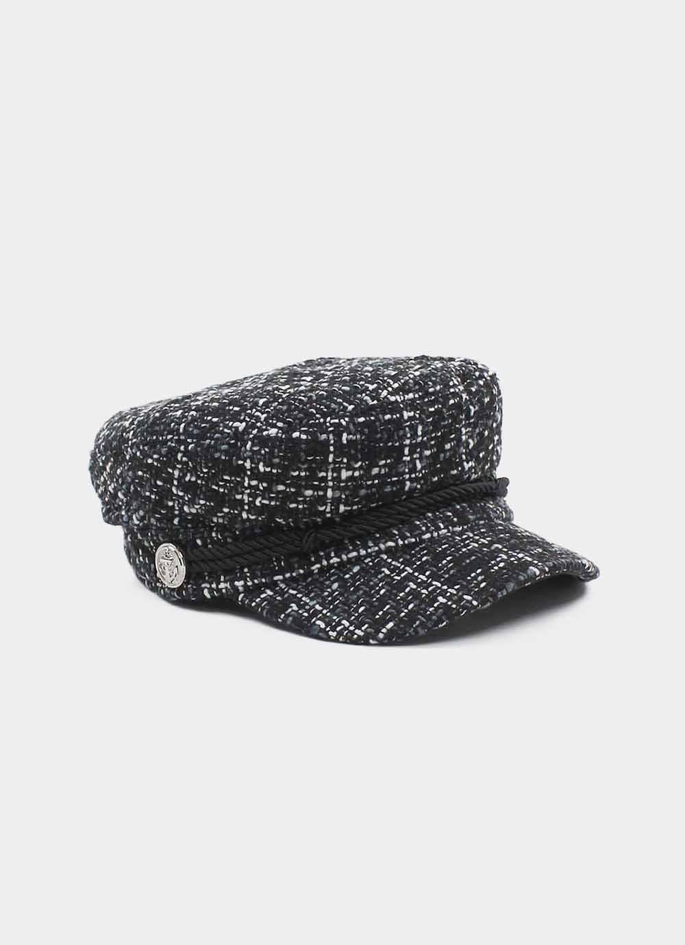 Tweed baker boy hat black