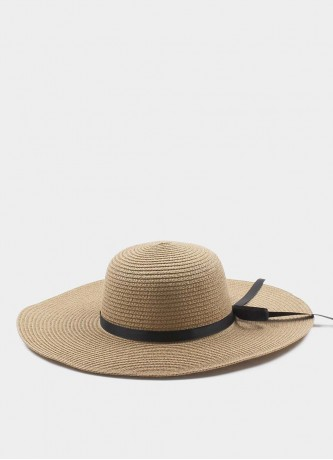 Wide brim foldable straw hat brown