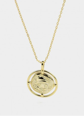 Coin necklace sterling silver gold plated