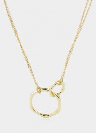 Connected rings necklace sterling silver gold plated