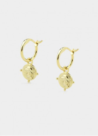 Coin hoop earrings sterling silver gold plated