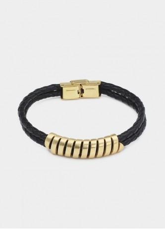Faux leather roller bracelet gold