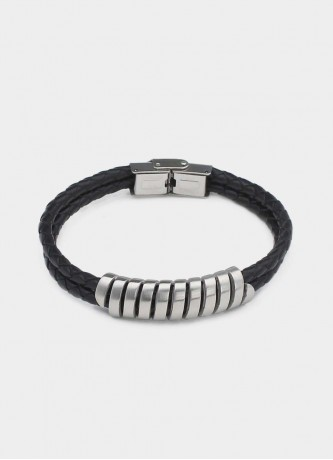 Faux leather roller bracelet silver