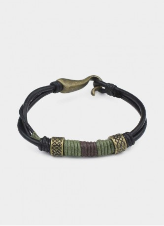 Faux leather detail bracelet