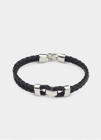 Double band woven detail bracelet silver