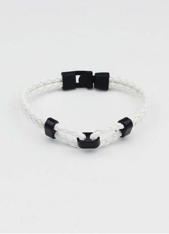Double band woven detail bracelet white