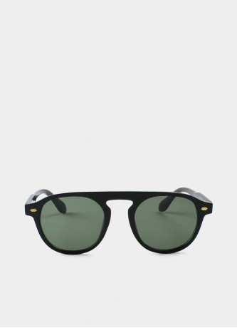 Retro round sunglasses black/green