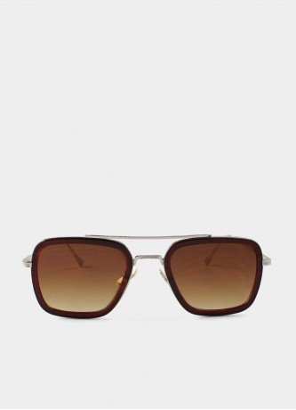 Square pilot sunglasses brown