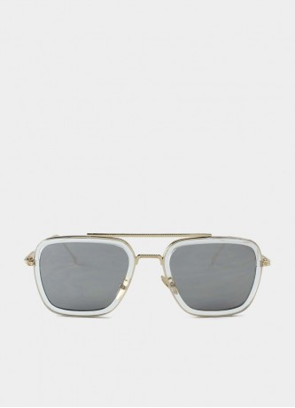 Square pilot sunglasses grey and transparent with mirror glass