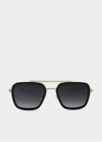 Square pilot sunglasses black with grey lenses