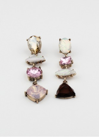Asymmetrical crystal earrings pink