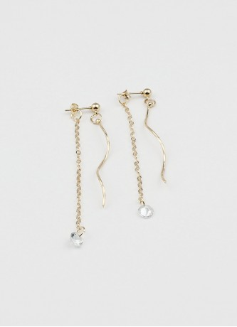 Dangle asymmetrical earrings gold