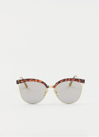 Cat-eye round mirror sunglasses gold