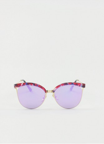 Cat-eye round mirror sunglasses purple